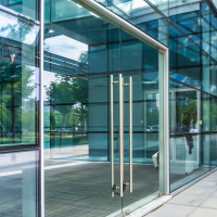 glass doors to office building