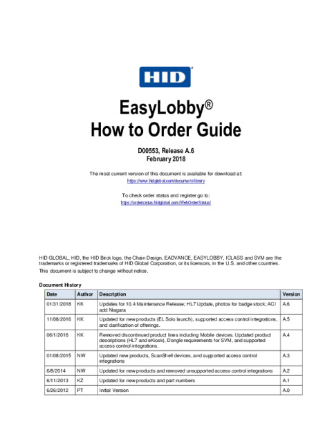 EasyLobby How To Order Guide